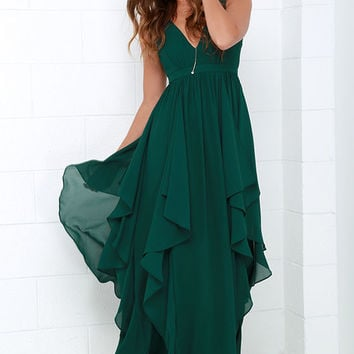 Water-Falling for You Dark Green Maxi Dress