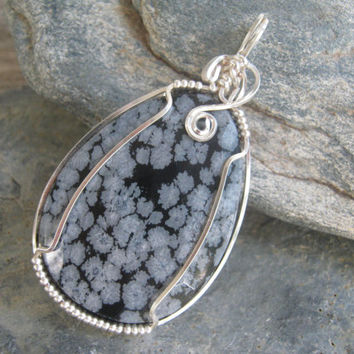 Snowflake Obsidian Pendant,  Faceted Gemstone Wire Wrapped Jewelry