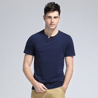Cotton Short Sleeve Round-neck Stylish Summer Slim Men T-shirts [6541356675]