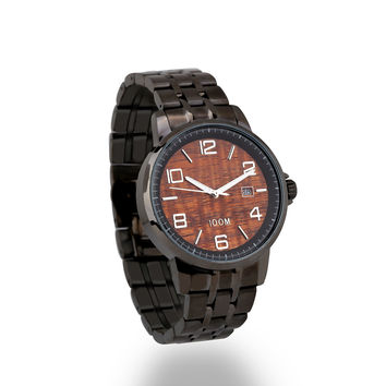 Men's Gunmetal Koa Wood Watch