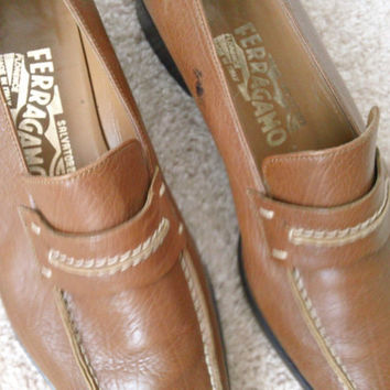 Salvatore Ferragamo Loafers Couture Fashion Ladies Shoes Size 7.5