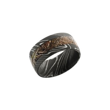 Damascus Steel Band Ring with Kings Woodland Camo Inlay