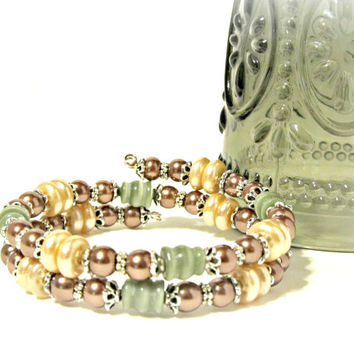Earthtone Wrap Bracelet - Ivory, Brown and Pine Green - Pearls and Cat's Eye - Wedding Bracelet, Memory Wire Bracelet, Victorian Bracelet