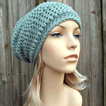 Crochet Hat Womens Hat - Penelope Puff Stitch Slouchy Beanie Hat in Seaspray Pale Blue Crochet Hat - Blue Beanie Blue Hat