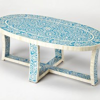 Sabina Transitional Oval Bone Inlay Cocktail Table Blue