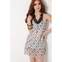Skull Printing V Neck Spaghetti Strap Sleeveless Straight White Chiffon Mini Dress