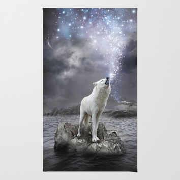 Stars Lie Hidden In Your Soul (Wolf Galaxy) Area & Throw Rug by soaring anchor designs ⚓ | Society6