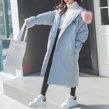 Adidas Women Loose Fashion Hooded Fur Collar Long Sleeve Long Section Cardigan Cotton-padded Clothes Thickened Bread Service Coat