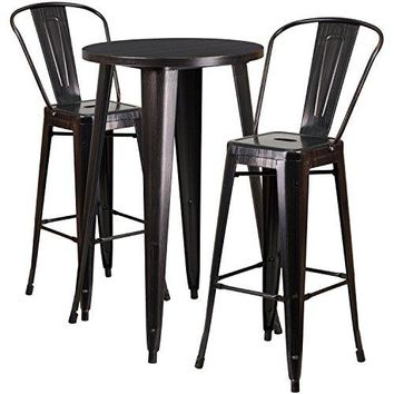 Flash Furniture 24'' Round Black-Antique Gold Metal Indoor-Outdoor Bar Table Set with 2 Cafe Stools