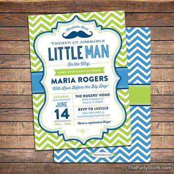 Unique Baby Shower Invitation, Little Man Mustache Bash Party Invite with FREE back, Printable Baby Boy Invitations, Blue, Green, Chevron