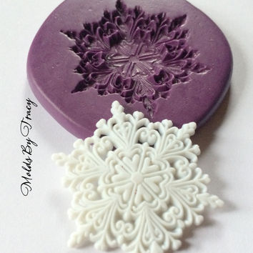 Large Lacy Snowflake Mold, Christmas Silicone Molds,Jewelry Molds,Crafting Molds,Polymer Clay Molds, Resin Molds, Fondant Molds,Kawaii Molds