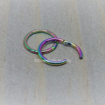 "18g Rainbow nose hoop 5/16"" diameter hinged clicker helix hoop earring tiny septum ring"