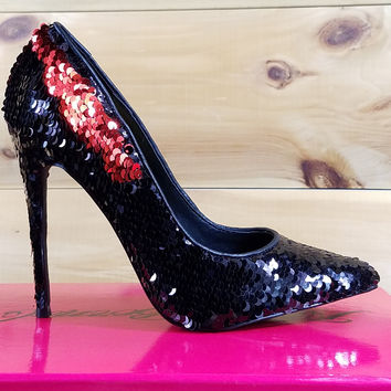 """Nelly Famous Reversible Black/Red Sequin Pumps - 4.5"""" High Heel Shoe"""