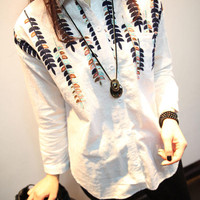 White Leaf Embroidered Long-Sleeve Button Collar Shirt