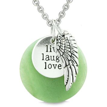 Guardian Angel Wing Live Laugh Love Inspirational Medallion Magic Amulet Green Quartz Necklace