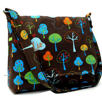 Women's Fabric Messenger Purse - Trees on Brown