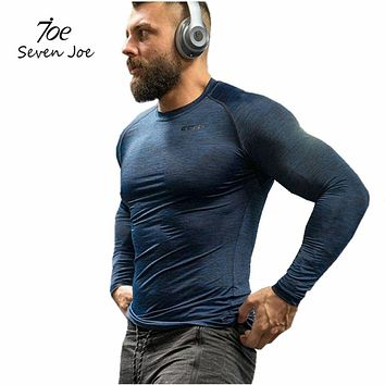New Men's T shirt Stringer Men Compression Tops Home gyms Bodybuilding Fitness T-shirts Long Sleeves Lycra T shirt