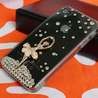 iphone 4 case,crystal  iphone cases 4 4s,bling  iphone 4 case with dancing girl
