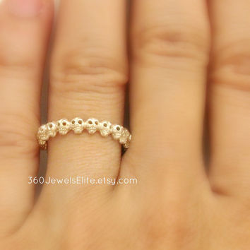 Tiny Gothic Skull Eternity Stack Ring - Rough Sterling Silver - Wedding Promise Anniversary Band - Customizable