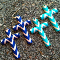 Chevron cross earrings (6-colors) from PeaceLove&Jewels