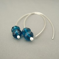 Steel Blue Faceted Czech Glass Sterling Silver Modern Contemporary Drop Earrings | The Silver Forge Handcrafted Jewellery
