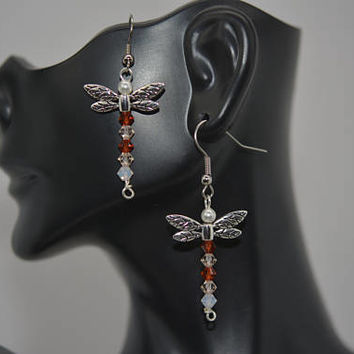 Dragonfly Earrings, Insect Earrings, Nature Inspired Earrings, Swarovski Crystal Dragonfly Earrings, Damselfly Earrings