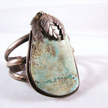 SALE Old Pawn Cuff Bracelet Silver Sterling Turquoise Native American