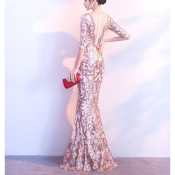 2018 Sequin Formal Party Dress Beads Sexy Backless Summer Dress Women Vestidos Verano 2018 Maxi Dress V-neck See-through Glitter