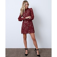 Take A Chance Lace Dress - Burgundy Lace