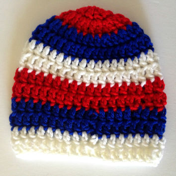 Crochet baby beanie, red white and blue, newborn crochet hat, striped hat, 4th of july baby, USA hat, crochet infant hat, crochet baby hat