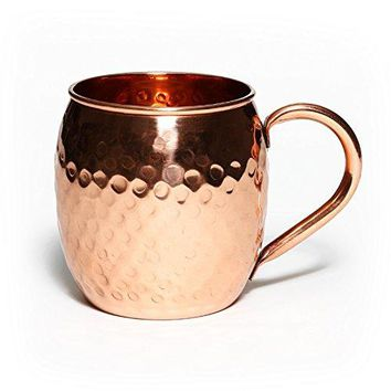 Mint Meets Ginger Moscow Mule Copper Mug  100 Pure Solid Copper Mug 16 Ounce Unlined Hammered Copper Cup with Over 20 Moscow Mule Recipes