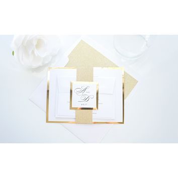 Elegant Gold Wedding Invitation, Gold Glitter Wedding Invitation, Formal Wedding Invitations - SAMPLE SET