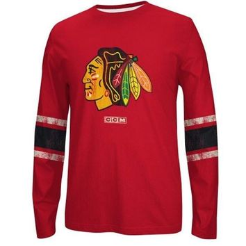 CCM Chicago Blackhawks Red Logo Long Sleeve Crew T-Shirt