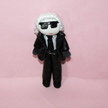 Karl Lagerfeld Doll Handmade Pin Brooch Chanel Designer Leather Black Suit Karlito Fendi Leather Tie Miniature Chanel Dollhouse
