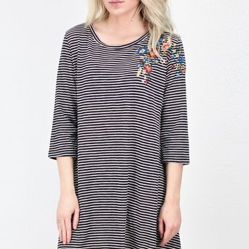 Striped + Floral Embroidery 3/4 Sleeve Dress {Black}