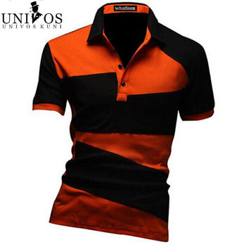 New 2014 Spring Casual Men's Clothing Brand T Shirt Irregular Turn-down Collar Men T Shirts,polo t- shirts for men,R1390