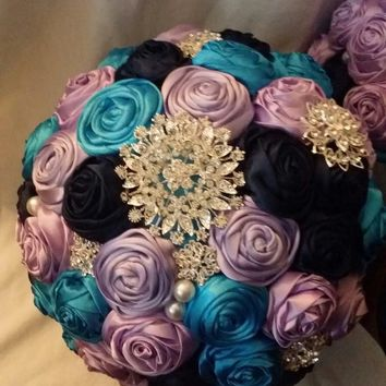 Turquoise Purple Navy Satin Brooch Bouquet Set only $99!