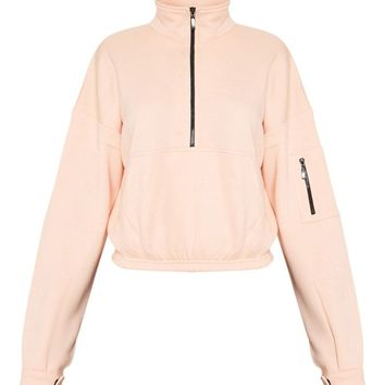 Dusty Pink Oversized Zip Front Sweater