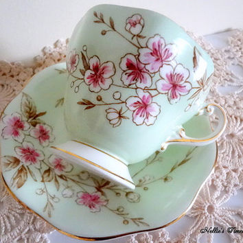 EB Foley Spring Blossoms Green Fine Bone China Tea Cup Saucer White Pink Flower English Antique Tea Cup and Saucer Vintage Replacement China