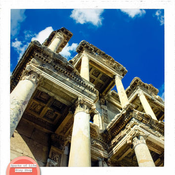 Turkey square digital download, Ephesus ancient ruins, travel photography printable, architecture, pillars, columns, wall art, home decor