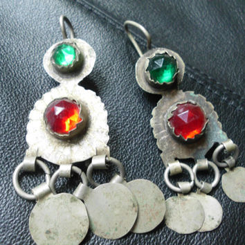 HOLE STRETCHERs Tribal Old Coin Jewelry Gage Earrings  Vintage Indian Jewelry India Earrings  Belly Dancing