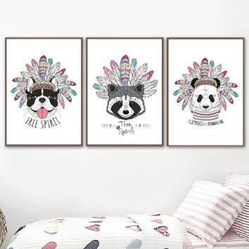 Native American Dog Raccoon Panda Nordic Poster And Prints Wall Art Canvas Painting Wall Pictures For Living Room Home Decor