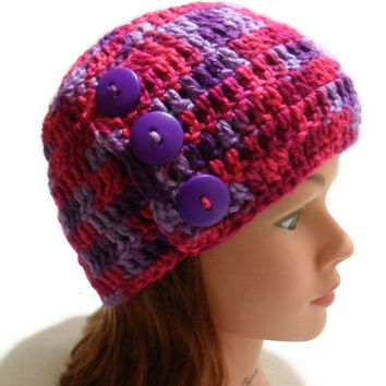 Crochet Three Button Tab Beanie in Pink and Purple with Purple Buttons