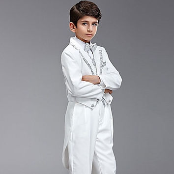 Seven Pieces White And Silver Swallow-tail Ring Bearer Suit With Two Bow Ties