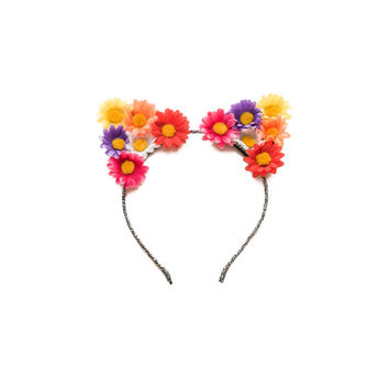 Día de los Muertos Cat Ear Headband, Floral Cat Ears, Kitty Ears Headband, Day of the Dead Headpiece, Rave Costume, Nightmare Festival