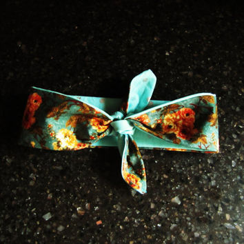 REVERSIBLE handmade dolly bow wrap headband. without wire