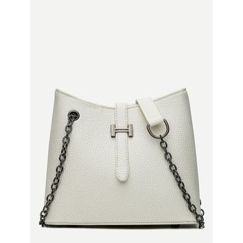 White Pebble Detail Chain Shoulder Bag