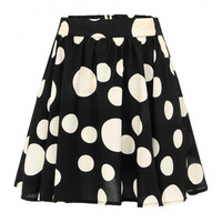 Black High-rise Waist Skort In Polka Dot