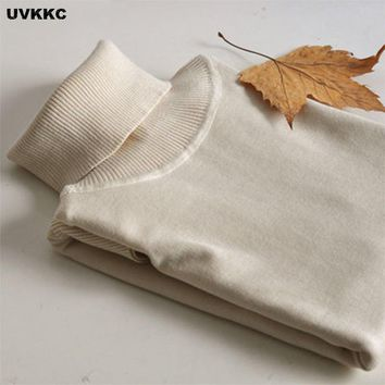 UVKKC Fashion Women Winter Autumn TurtleNeck Sweater Slim All Match Knitted Pullovers Solid Cashmere Cotton Warm Women Knitwear