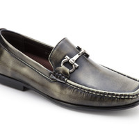Men's Distressed Leather Horsebit Loafer By Montique S-07